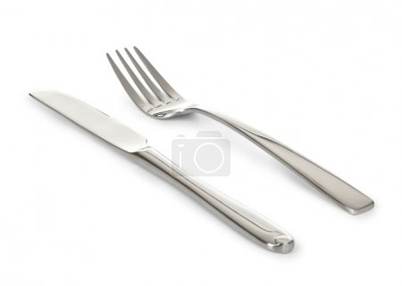 Photo for Fork and knife, isolated on white - Royalty Free Image