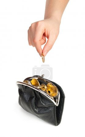 Female hand putting money in purse