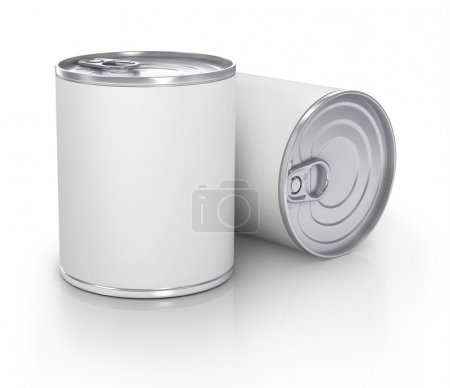 Cans with blank white label isolated on white....