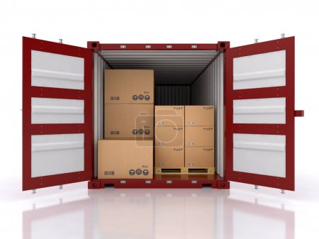 Photo for Open container with cardboard boxes - Royalty Free Image