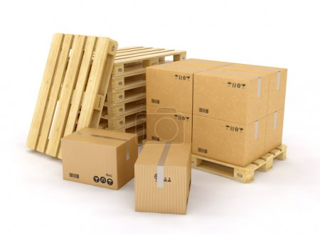 Photo for Creative cargo, delivery and transportation logistics storage warehouse industry business concept: group of stacked corrugated cardboard boxes on wooden shipping pallets isolated on white background - Royalty Free Image