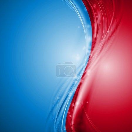 Illustration for Abstract blue and red wavy background. Vector design eps 10 - Royalty Free Image
