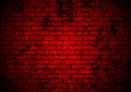 Illustration pour Fond de mur en brique grunge rouge foncé - image libre de droit