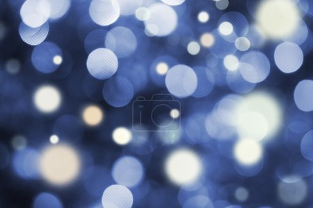 Photo for Blue and white holiday bokeh. Abstract Christmas background - Royalty Free Image