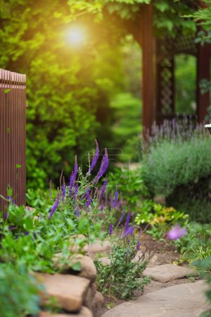 Garden with flowers and gazebo