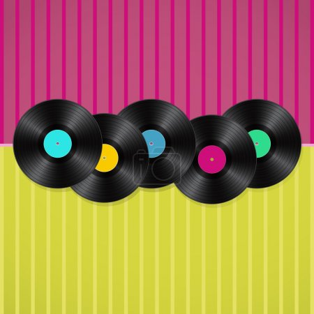 musical retro background with vinyls