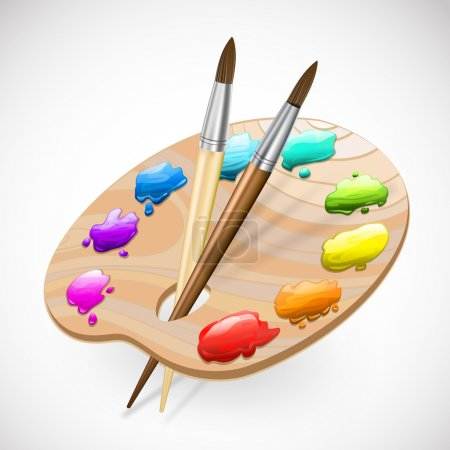 Illustration for Art palette wirh brushes and paints - Royalty Free Image