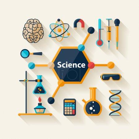 Illustration pour Science et éducation. Conception plate . - image libre de droit