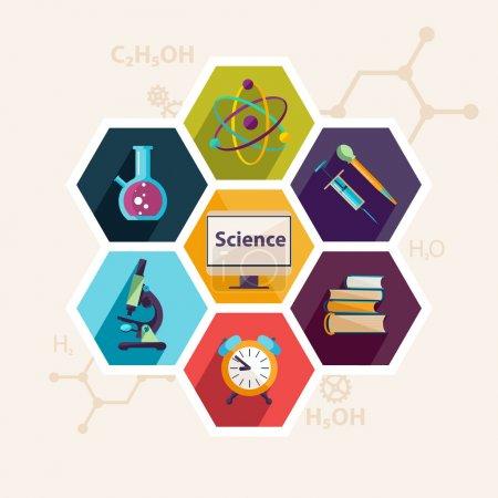 Illustration pour Science et éducation. Conception plate - image libre de droit