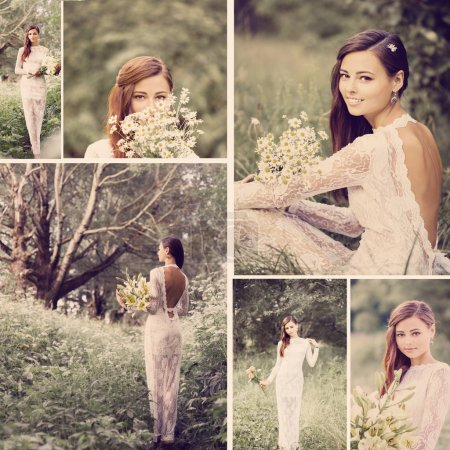 Photo for Collage with beautiful bride outdoor - Royalty Free Image
