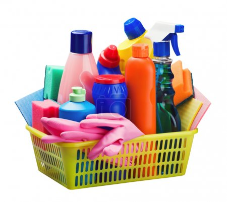 Cleaning equipment in the basket