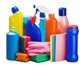 Reinigungsgeräte in den Korb