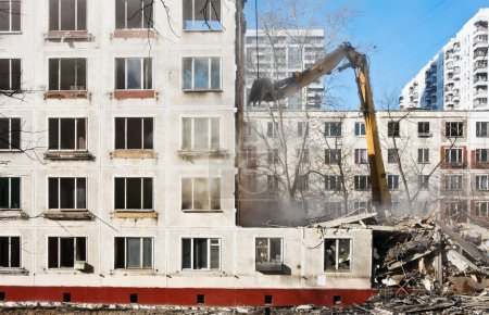 Demolition of dilapidated and old apartment building