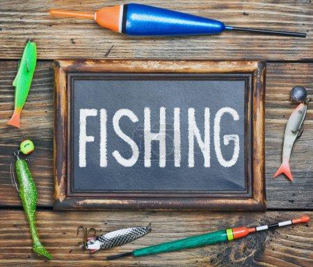 Fishing gear and blackboard