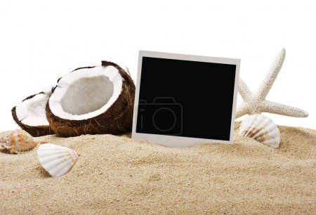 chopped coconut and photoframe