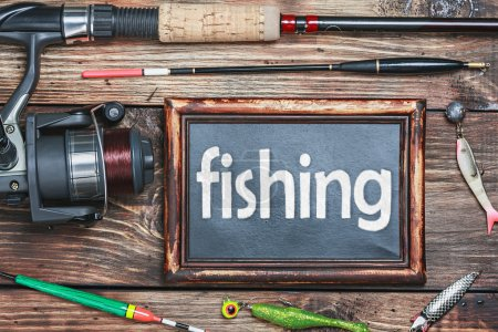 blackboard and other fishing accessories