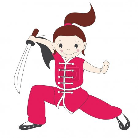 Vector illustration of kung fu girl with sword...
