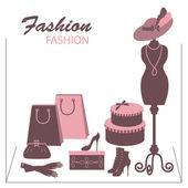 Storefront fashion shop with women accessory