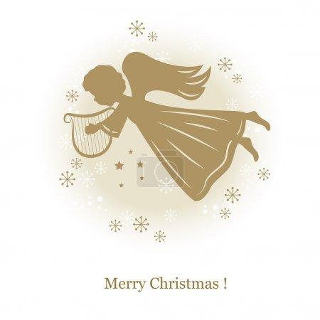 Illustration pour Petit mignon ange volant avec harpe. illustration de dessin de la main - image libre de droit
