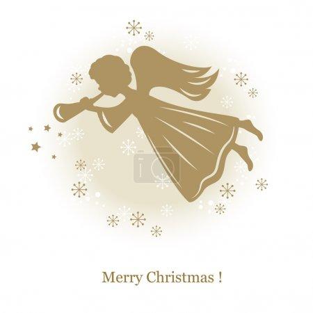 Illustration pour Petit mignon ange volant avec flûte. illustration de dessin de la main - image libre de droit