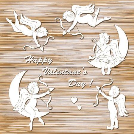 Illustration pour Valentin heureux, ensemble de Cupidon sur un fond de bois - image libre de droit