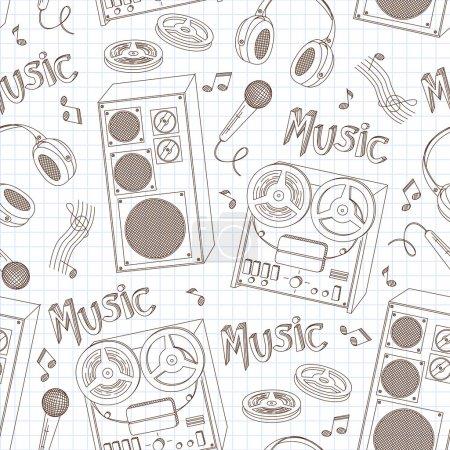 Retro music equipment seamless pattern