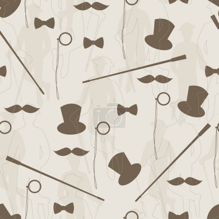 Illustration for Silhouette of bowler, mustaches, stick, monocle and a bow tie Hand drawing illustration - Royalty Free Image