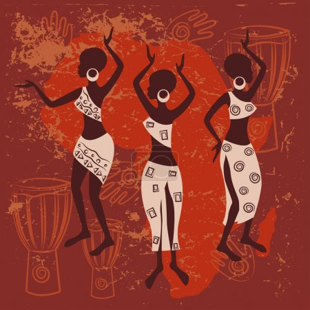 Illustration for Beautiful ethnic women traditionally dancing .Vector illustration on red background - Royalty Free Image