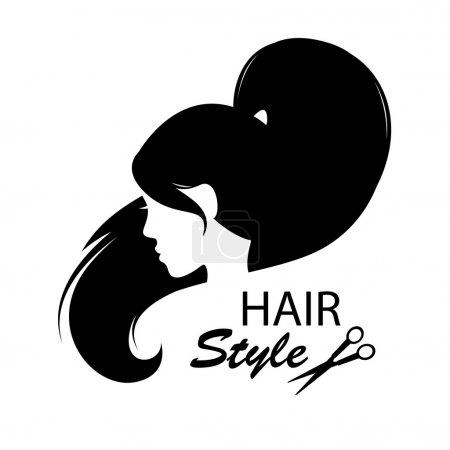 Illustration pour Eléments de design pour salon de coiffure. Coiffure féminine. Noir et blanc. Illustration de dessin - image libre de droit