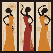 Vector picture of African American woman Triptych