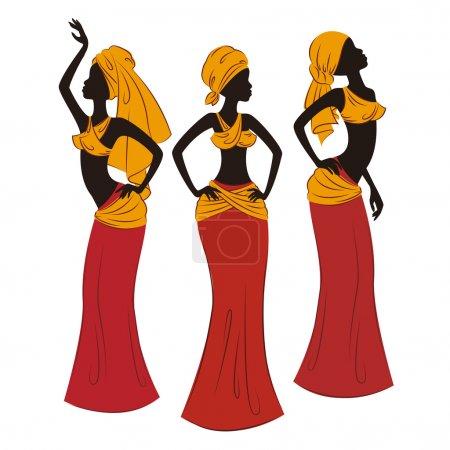Illustration pour Belles femmes ethniques traditionnellement danse. illustration de vecteur isolé sur fond blanc. - image libre de droit