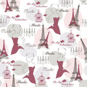 Seamless pattern with sketch of pretty women cage with bird Eiffel tower and text