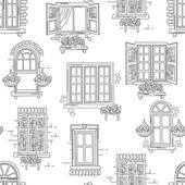 Seamless pattern of retro windows on white background Hand drawing illustration