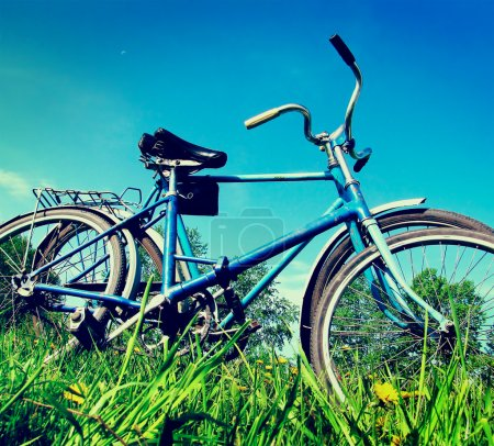Photo for Vintage photo of two old bicycle on the grass - Royalty Free Image