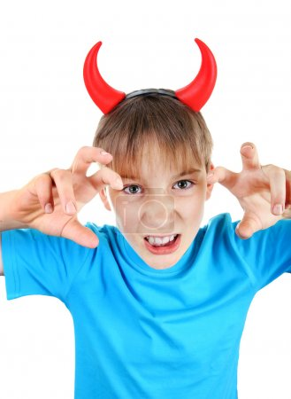 Sly Kid with Devil Horns on the Head Isolated on t...