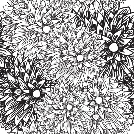 Black and white chrysamthemums. Seamless pattern