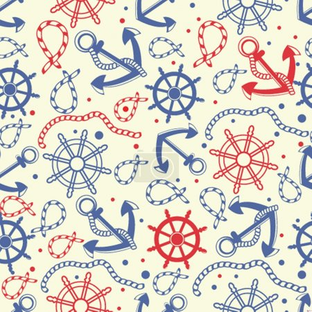 Red and navy seamless background.