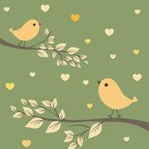 Abstraktní ptáky pár. ptáci pár v lásce vinobraní vektorové ilustrace