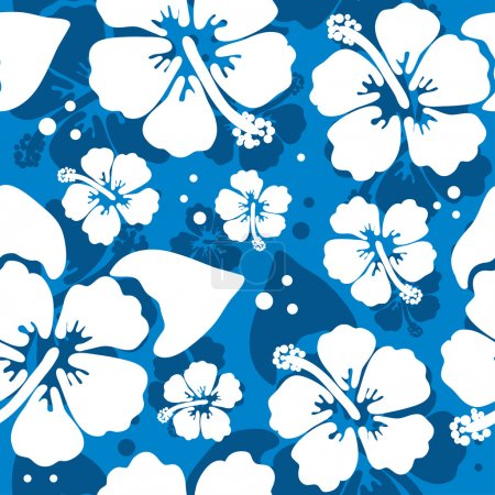 Illustration for Seamless pattern with hawaiian hibiscus flower - Royalty Free Image