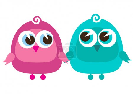 Illustration for Drawing of a cute cartoon birds standing - Royalty Free Image