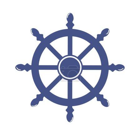 Ship Wheel Banner isolated on white background. Vector Illustration
