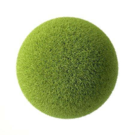 Photo pour Boule d'herbe verte isolée sur fond blanc - image libre de droit
