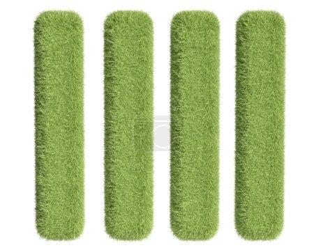 Photo pour Quatre rectangles d'herbe verte sur fond blanc - image libre de droit