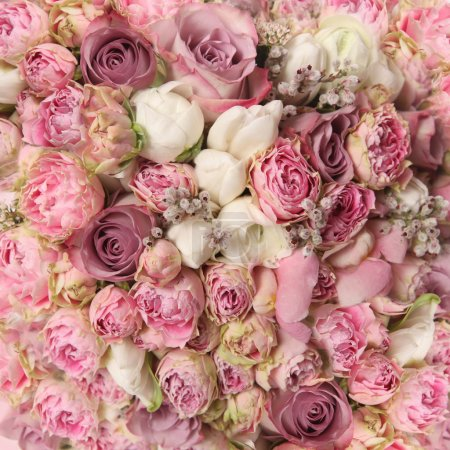 Wedding bouquet with rose bush, Ranunculus asiatic...
