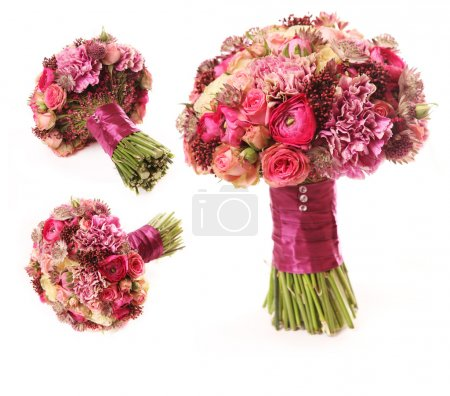 Wedding bouquet with Astrantia, Skimma, Brassica, rose bush