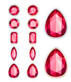 Set of five forms of ruby cut and two kinds of frames (silver an