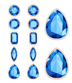set of five forms of sapphire cut and two kinds of frames (silve