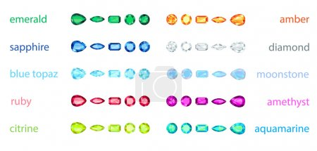 Big set of variety gemstone. EPS10, no gradient, no transparency