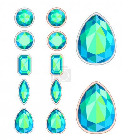 Illustration for Set of five forms of gemstone cut and two kinds of frames (silver and gold) - Royalty Free Image