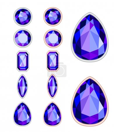 set of five forms of violet gemstone cut and two kinds of frames